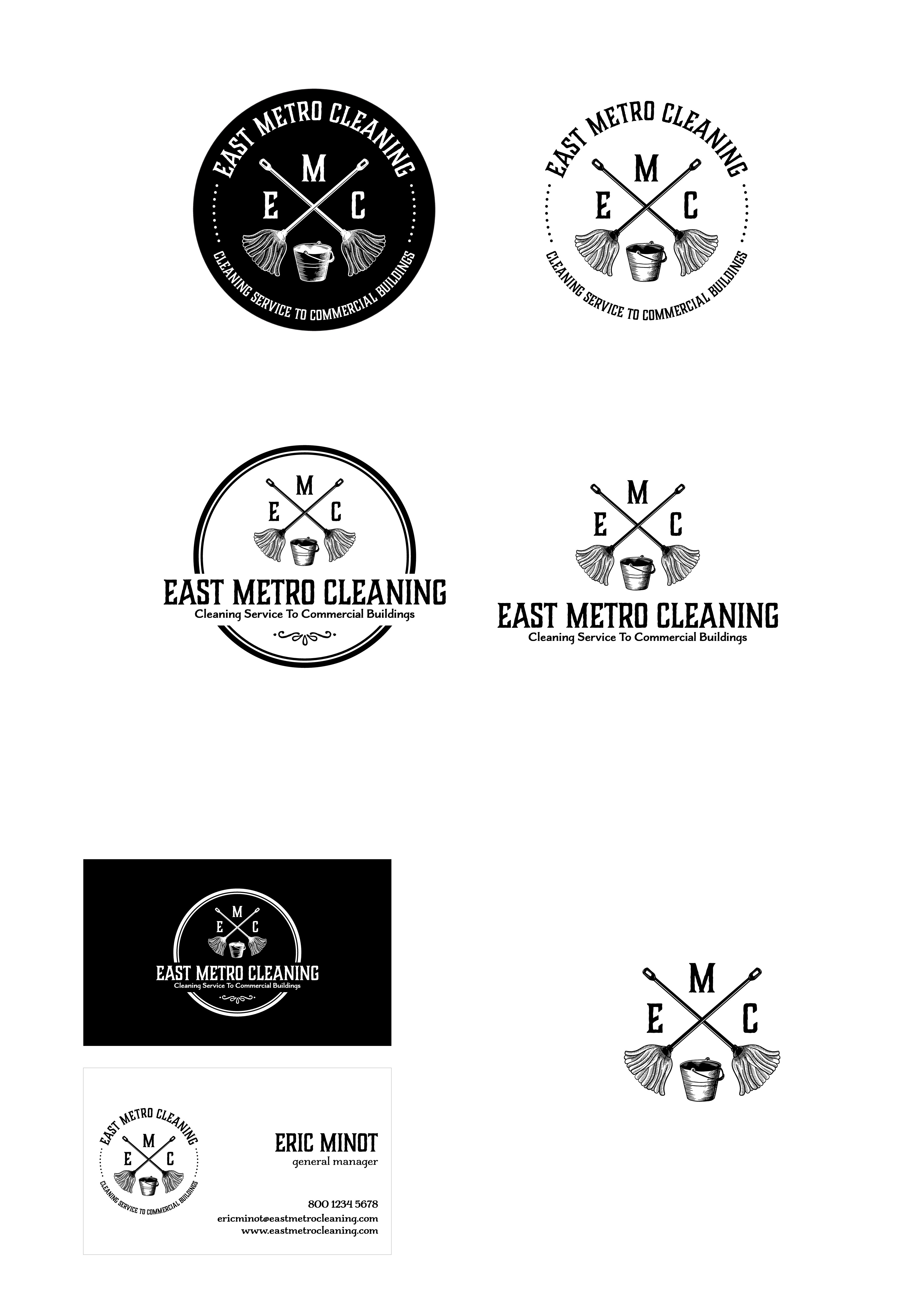 Create a 'hipster' style logo and business card for my cleaning company.