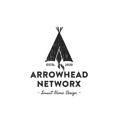 Vintage style logo of a teepee tent and an arrowhead