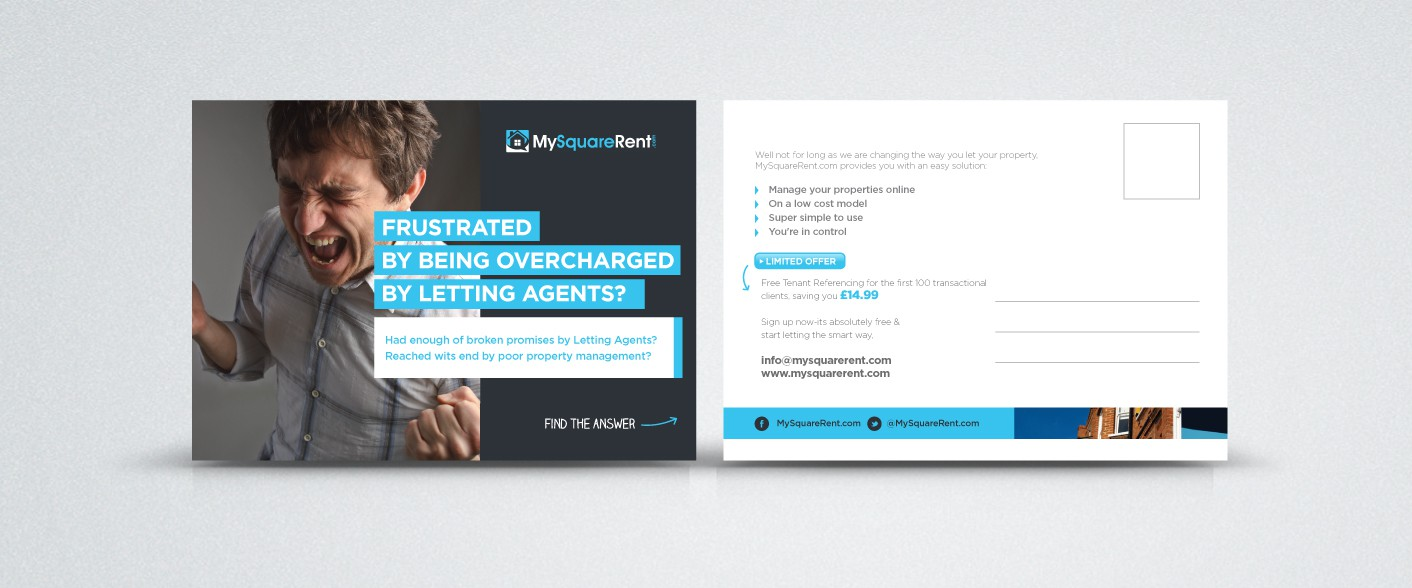 Help MySquareRent.com with a new postcard or flyer