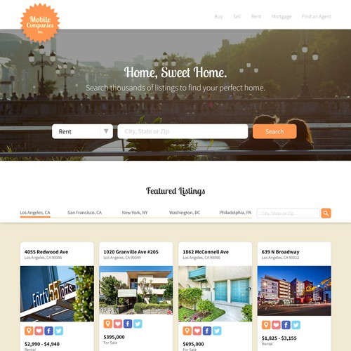 Real Estate Listing App Website Design