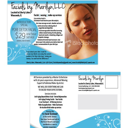 postcard for FACIALS BY MARILYN, LLC