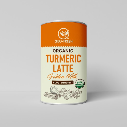 Turmeric latte mix packaging