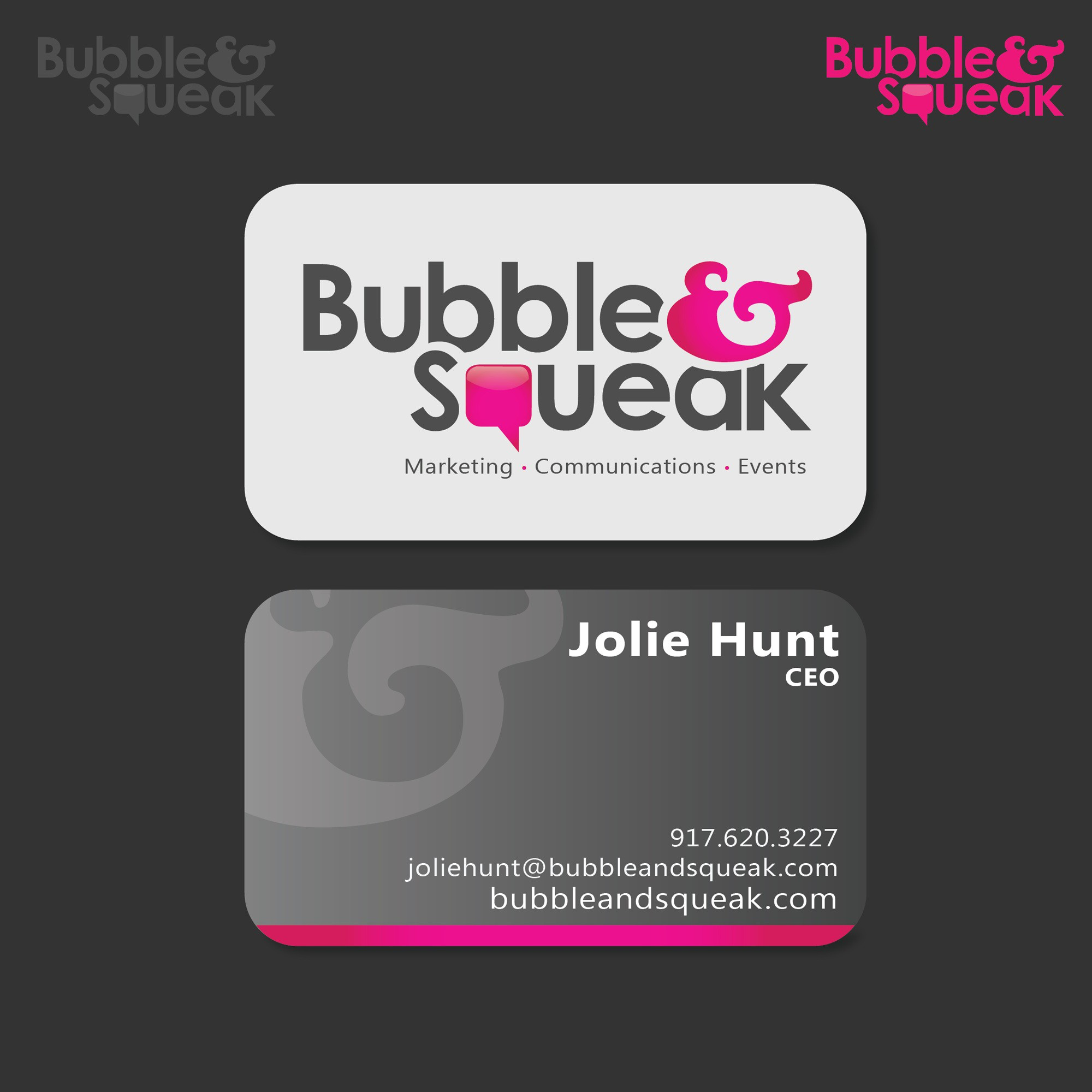 logo and business card for Bubble & Squeak