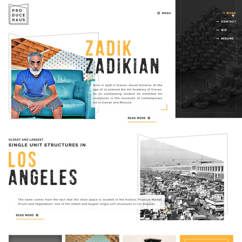 Parallax website for art work business
