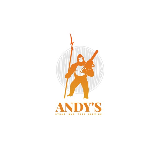 Andy's stump and tree service logo.