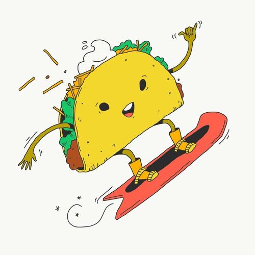 Snowboarding Taco Illustration