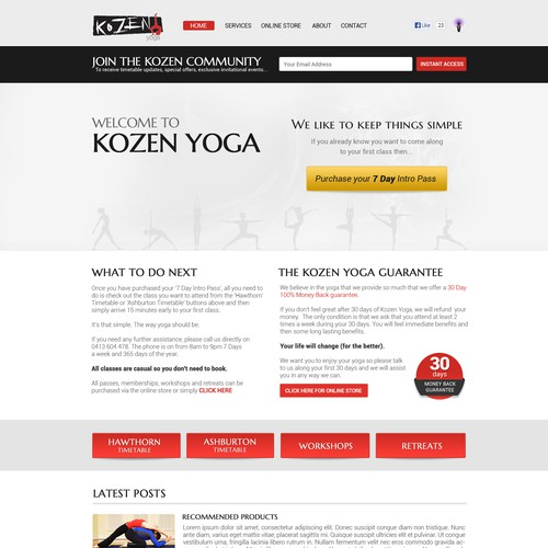 website design for www.kozenyoga.com.au