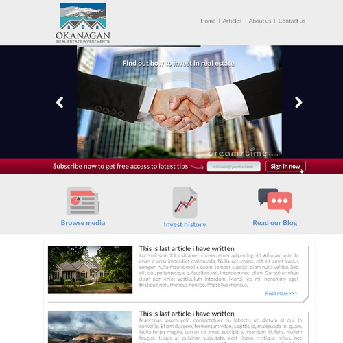 Create a website page for an up and coming real estate investment company!