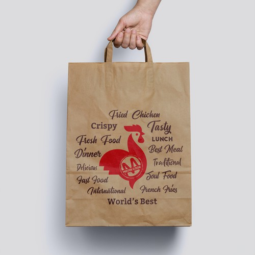 Fried Chicken - Fast Food Bag Label Design