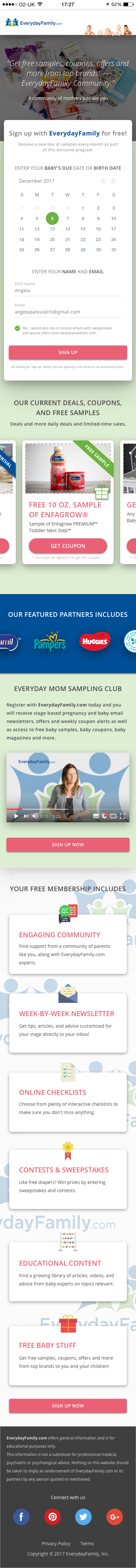 Create a new lead generation landing page for EverydayFamily.com