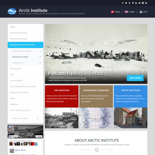 Webpage design for Arctic Institutec Institute