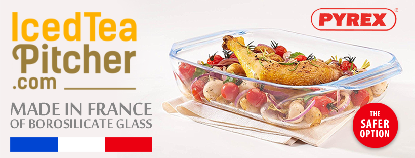 Facebook cover for IcedTeaPitcher.com selling Borosilicate PYREX® in America
