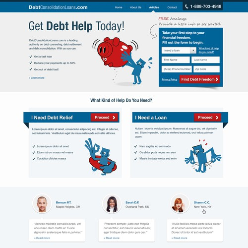 Debt Consolidation Loans needs a new website design