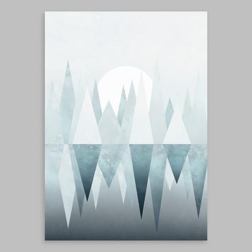 """Scandinavian canvas art """"Winter Lake"""""""