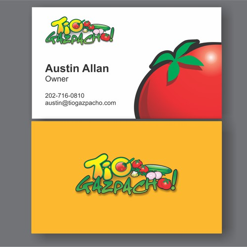 Create the next logo and business card for Tio Gazpacho