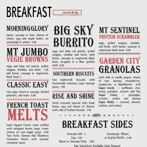 Modern menu design