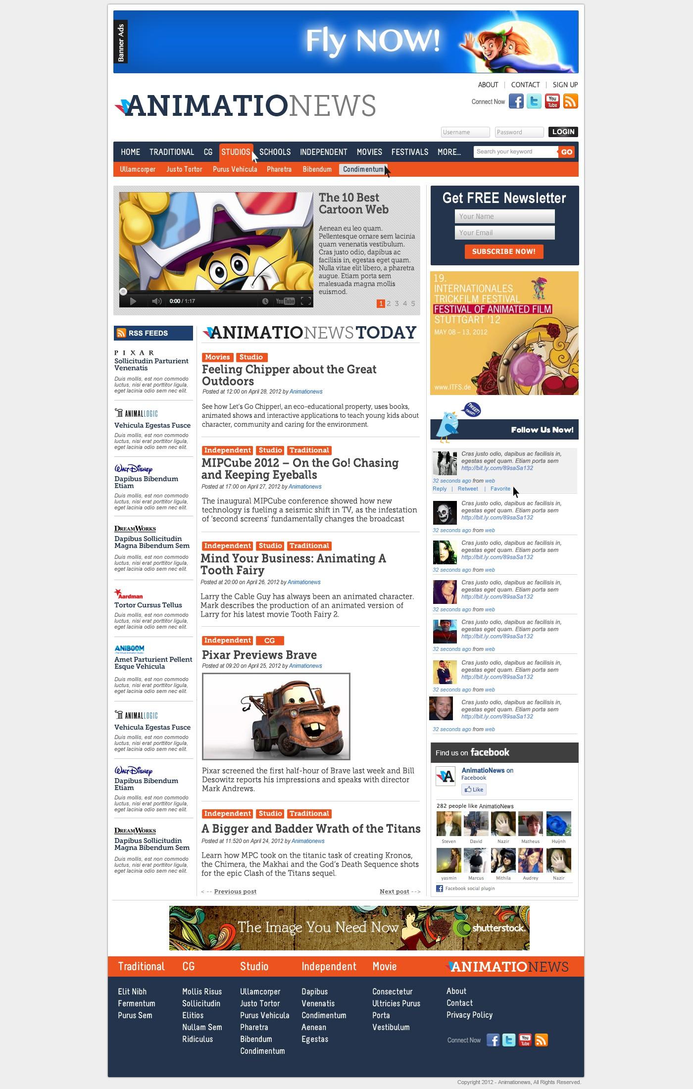 Site design for animation news portal