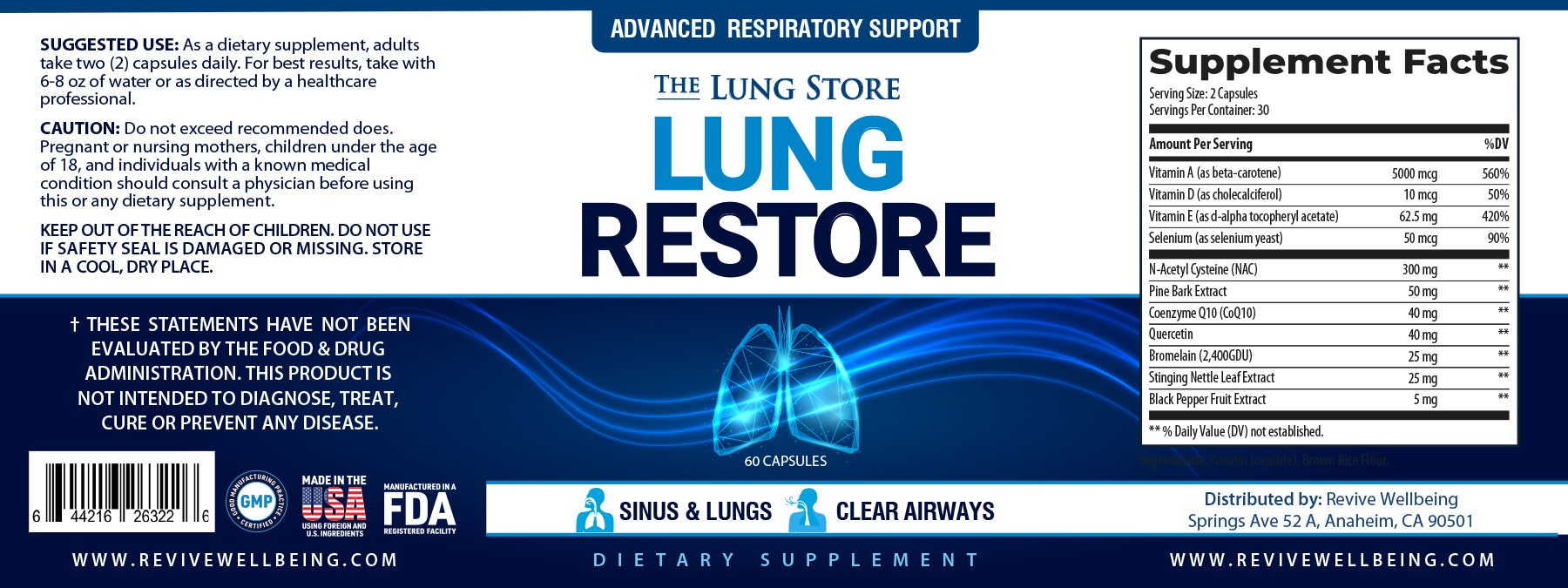 Supplement Label for people with lung issues