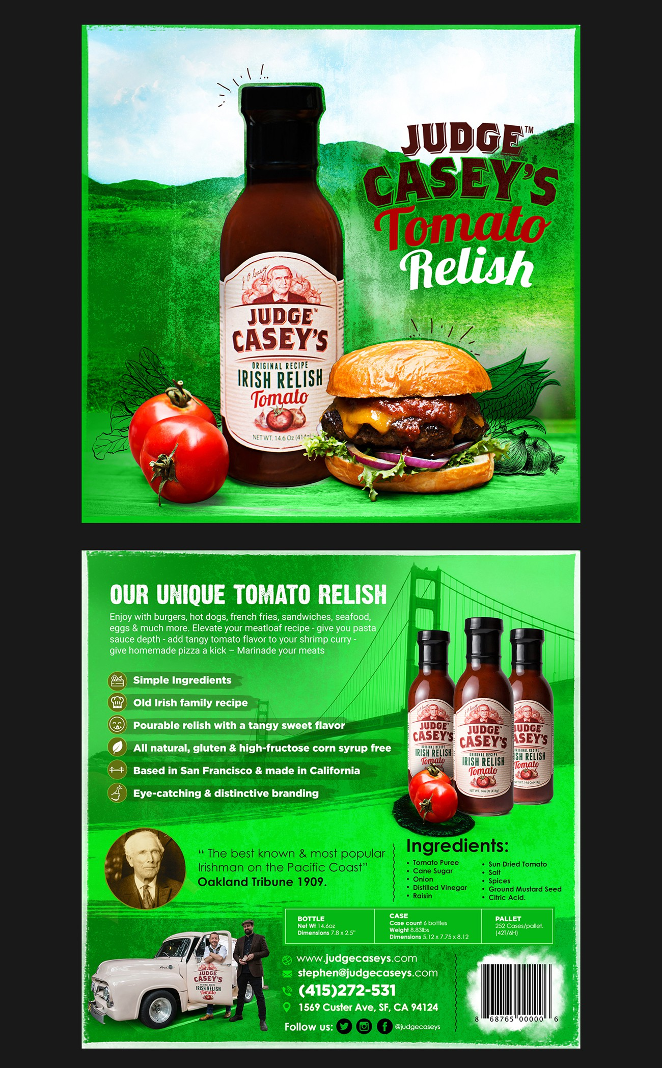 Traditional Irish Relish co. with great branding needs cool sales flyer.