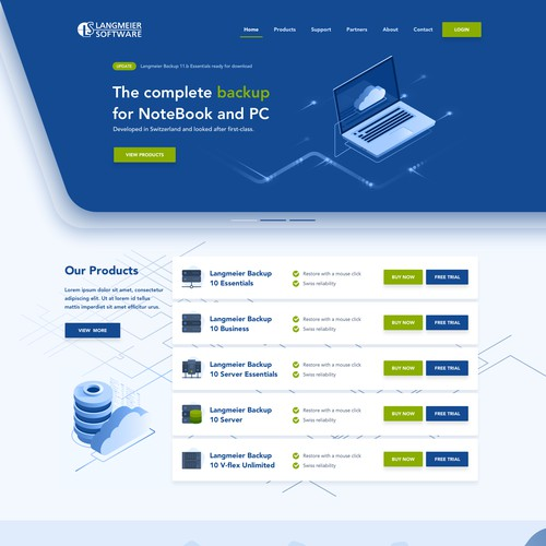 Homepage redesign for Langmeier Backup