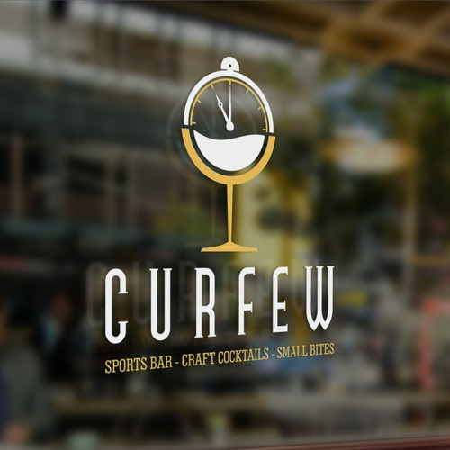 curfew logo. sport bar, carft cocktails, small bites
