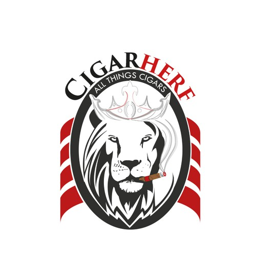 Create a crowned lion smoking a cigar for CigarHerf.com