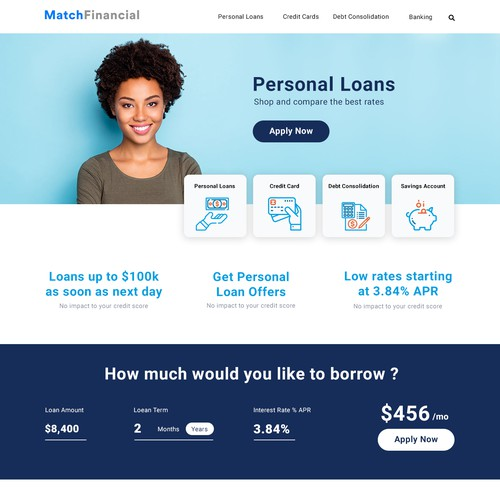 website redesign for personal finance website