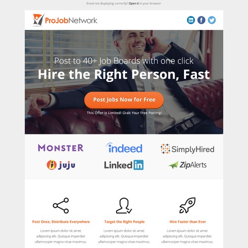Create a Simple & Attractive Marketing Email for a Job Board