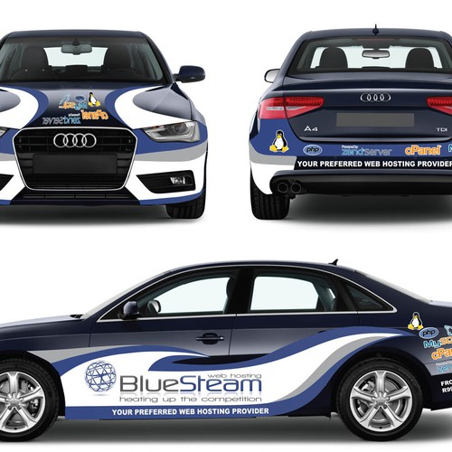 "Sporty,Racy,Sexy car wrap needed for BlueSteam. Winner will have ""designed by""!!"