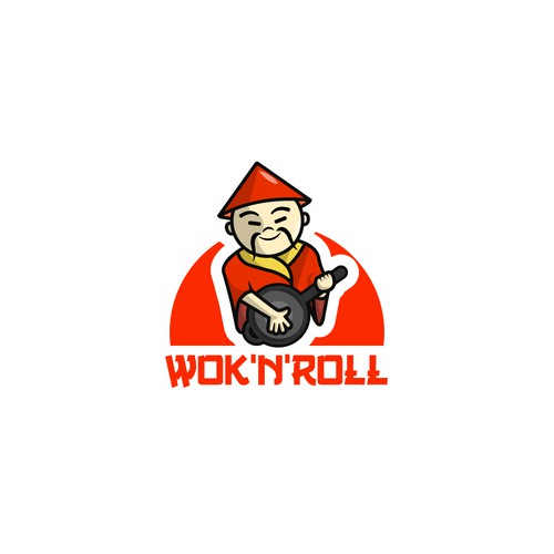 "Logo for chinese restaurant ""Wok'n'Roll"""
