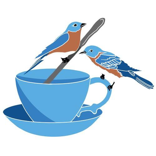 Whimsical Logo For Two Birds Tea