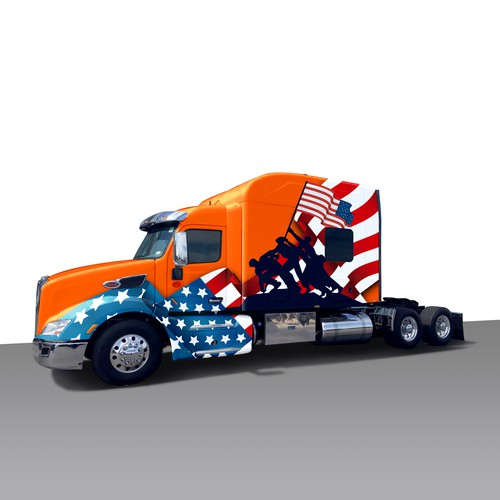 Patriotic/military themed 18 wheeler tractor wrap
