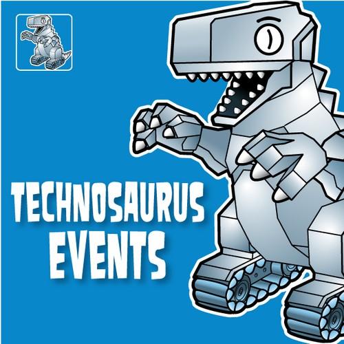 Vector Art Mascot Illustration for TECHNOSAURUS EVENTS - A Robot Dinosaur