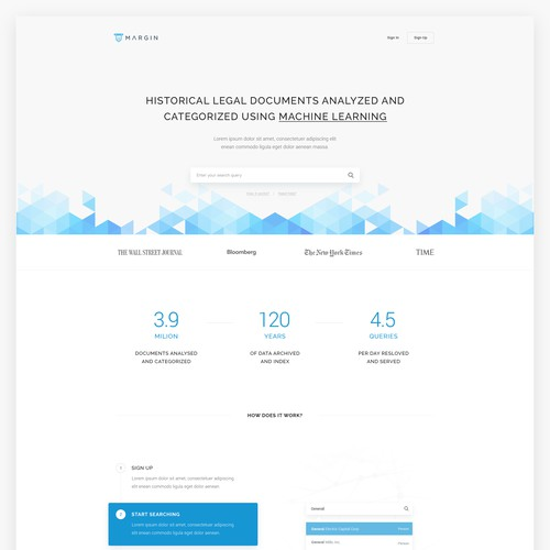Landing page design for a legal machine learning site.