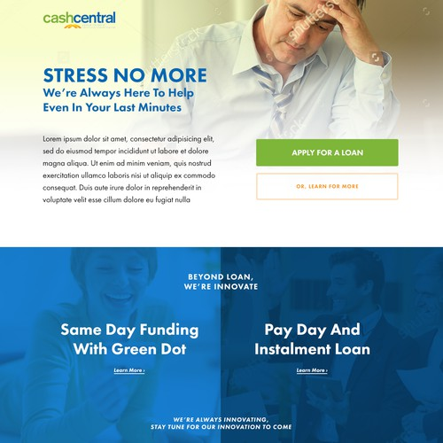 A landing page concept for CashCentral