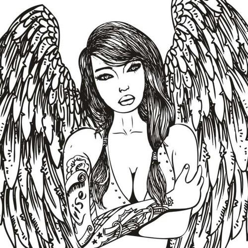 Create a beautiful line art drawing of a tattooed angel for a top e-liquid company!