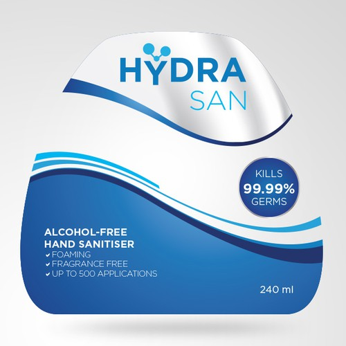 Product label for HydraSan, a new Alcohol-Free Hand Sanitiser.