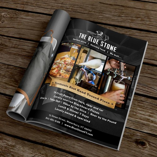 Magazine ad for a rustic Pizza place & beer pond