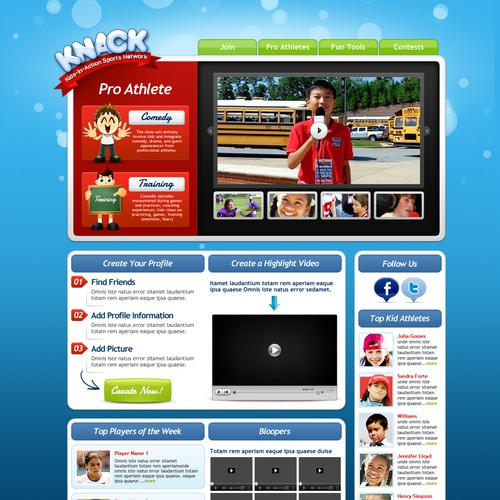 Help Kids-In-Action Sports Network (KNACK) with a new website design - the ESPN for Kids