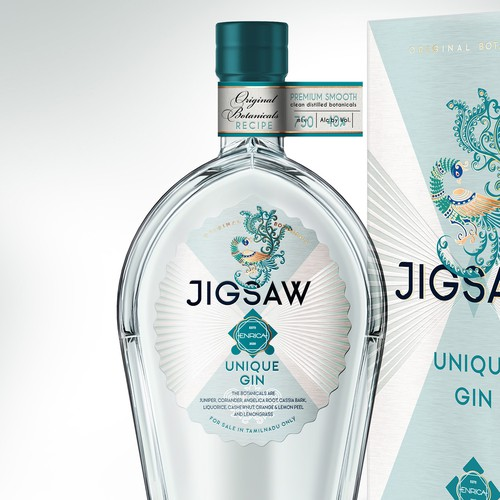 Brand design and packaging design for premium JIGSAW Unique Gin