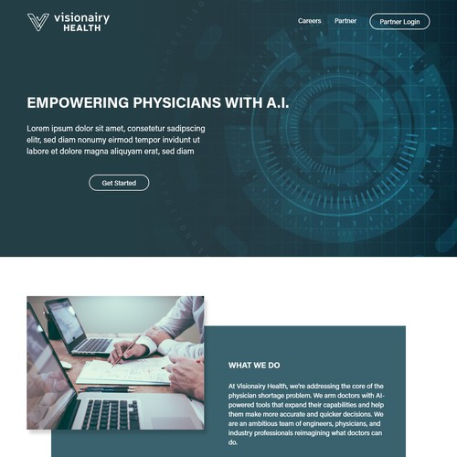Web page design for Visionairy Health