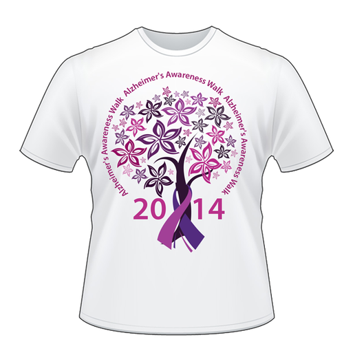 Team T shirts for Alzheimers' Walk