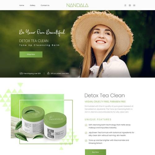 Website design of a NATURAL SKIN CARE COMPANY