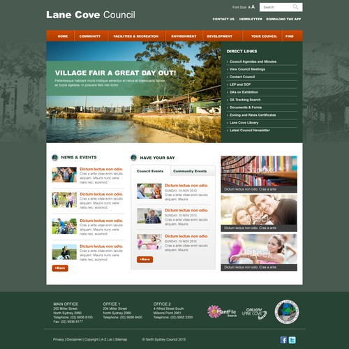 New website design wanted for Lane Cove Council