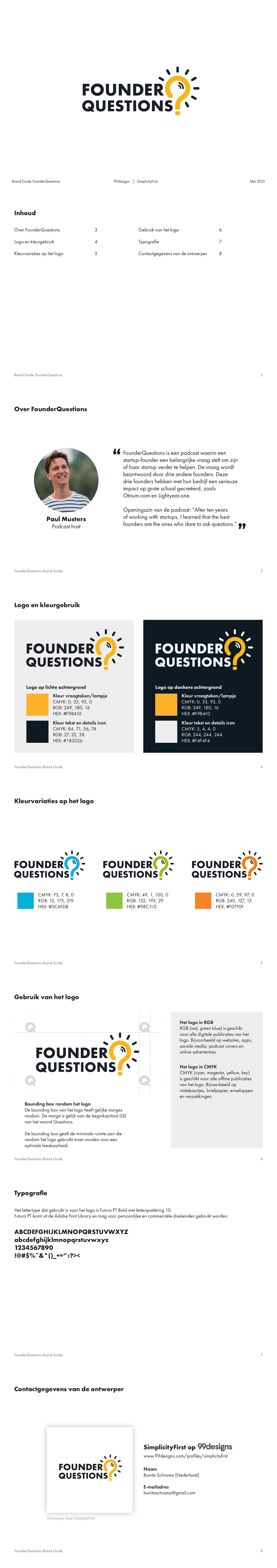 Create a logo for *FounderQuestions* - The Start of an Impactful Podcast Brand
