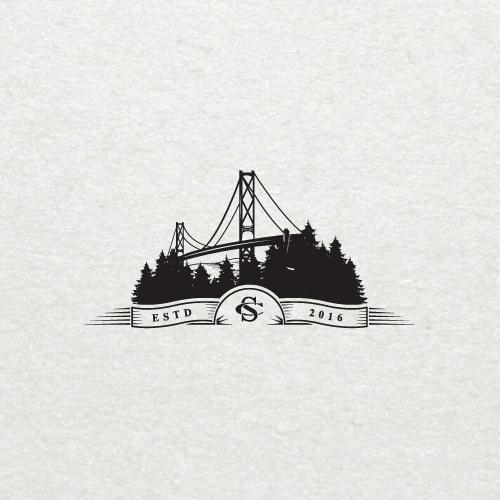 Bridge and forest logo concept