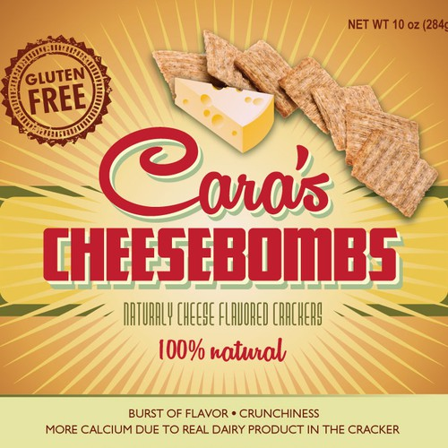 "Create an original and hip package design for ""Cara's Cheesebombs"""