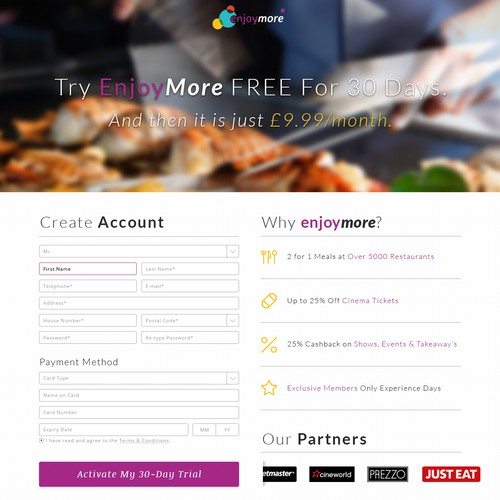 EnjoyMore Landing page