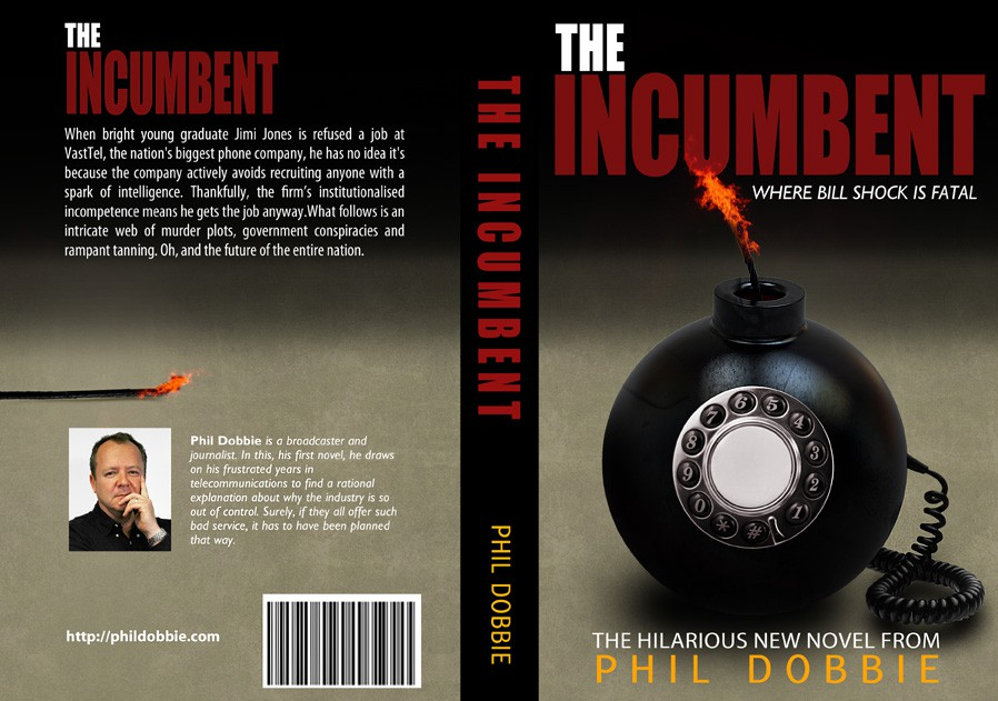 Book cover design - satirical novel about the telecommunications industry