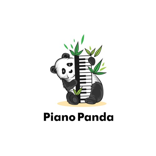 Piano Panda logo concept for fundraising for animal accident environmental protection